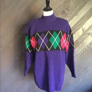 Vintage Lizsport Purple Argyle Sweater 💜💜💜